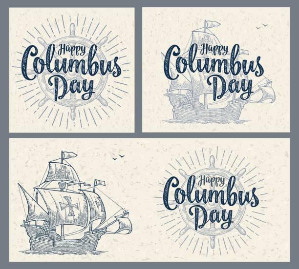 sailing ship floating on the sea waves. caravel santa maria. - columbus day stock illustrations