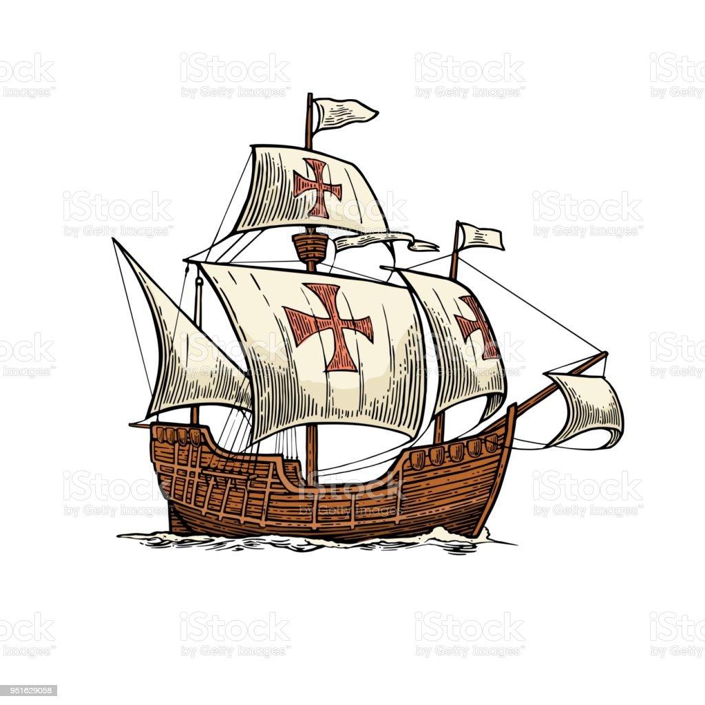 Sailing ship floating on the sea waves. Caravel Santa Maria. vector art illustration