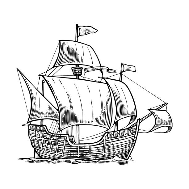 sailing ship floating on the sea waves. caravel santa maria with columbus. hand drawn design element. vintage vector engraving illustration for poster, label, postmark. isolated on white background - statek stock illustrations