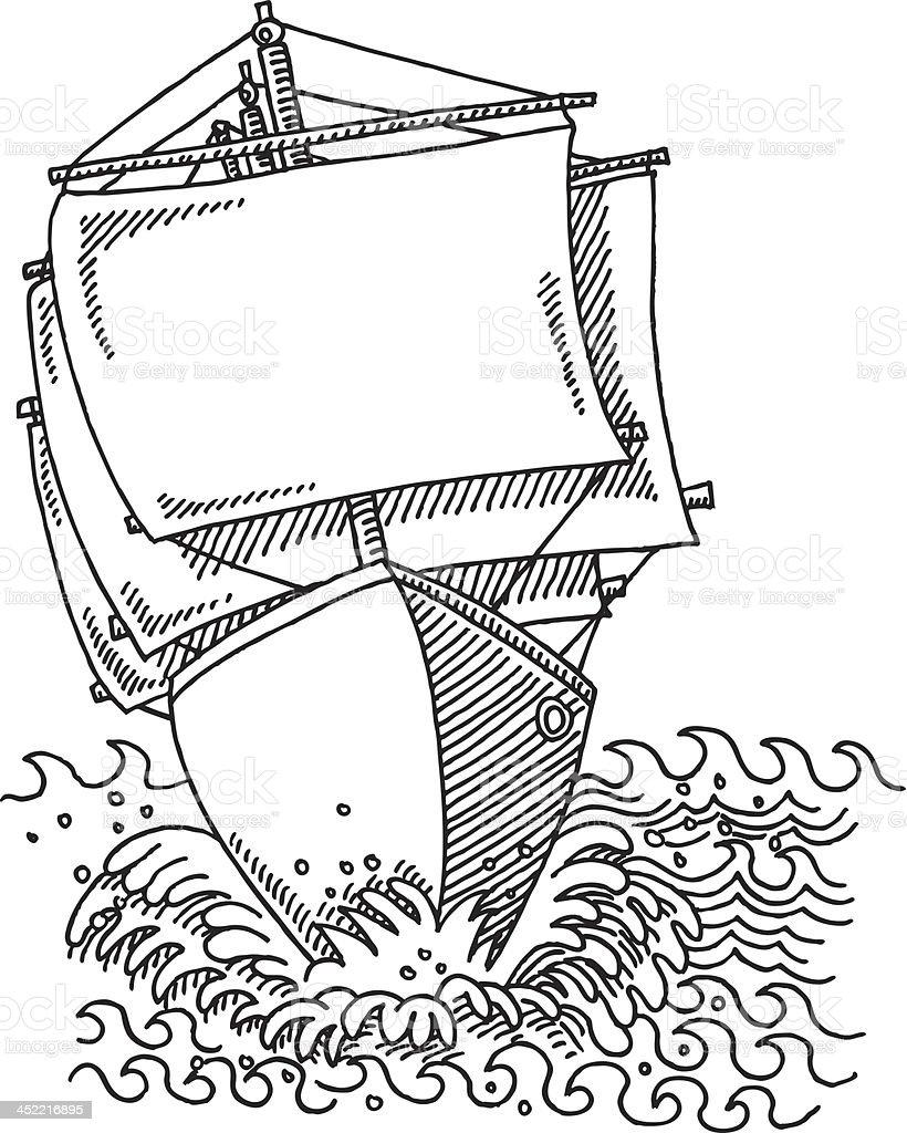 Sailing Ship Full Sails Drawing royalty-free stock vector art