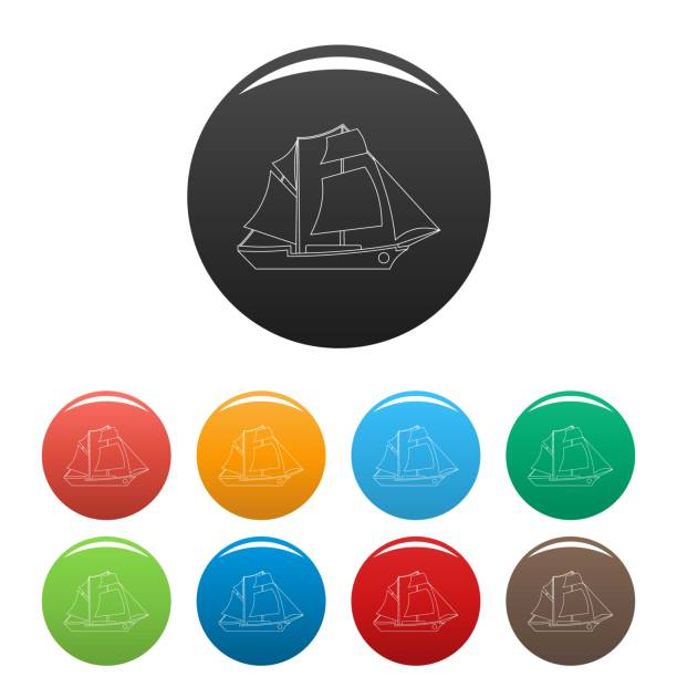 Sailing ship icons set color vector vector art illustration