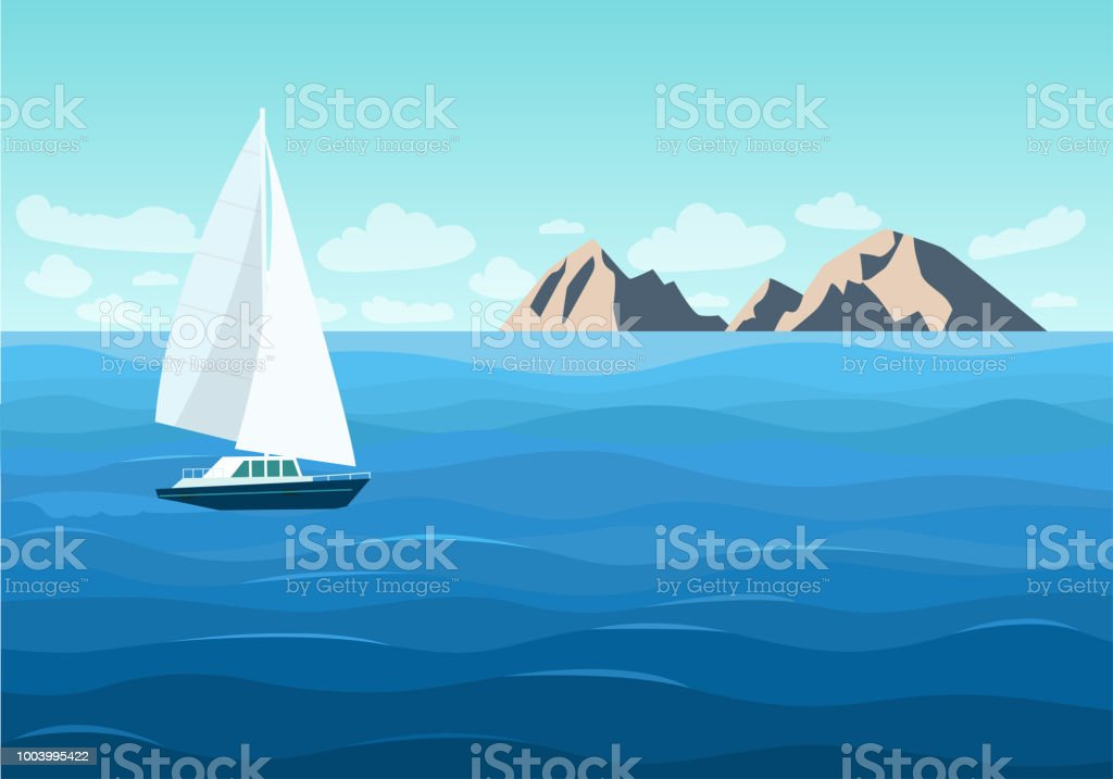Sailing ship in the ocean. Mountain landscape. Vector flat style...