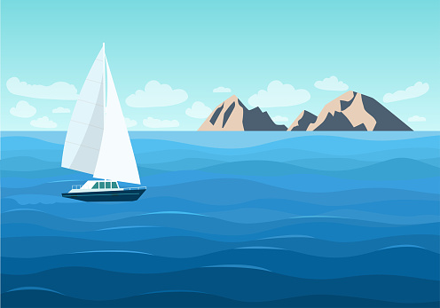 Sailing ship in the ocean. Mountain landscape. Vector flat style illustration