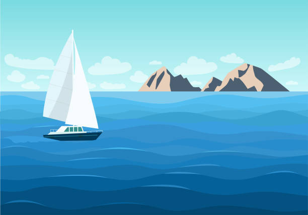 Sailing ship in the ocean. Mountain landscape. Vector flat style illustration Sailing ship in the ocean. Mountain landscape. Vector flat style illustration sea stock illustrations