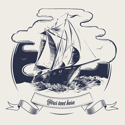 sailing ship label wood cut