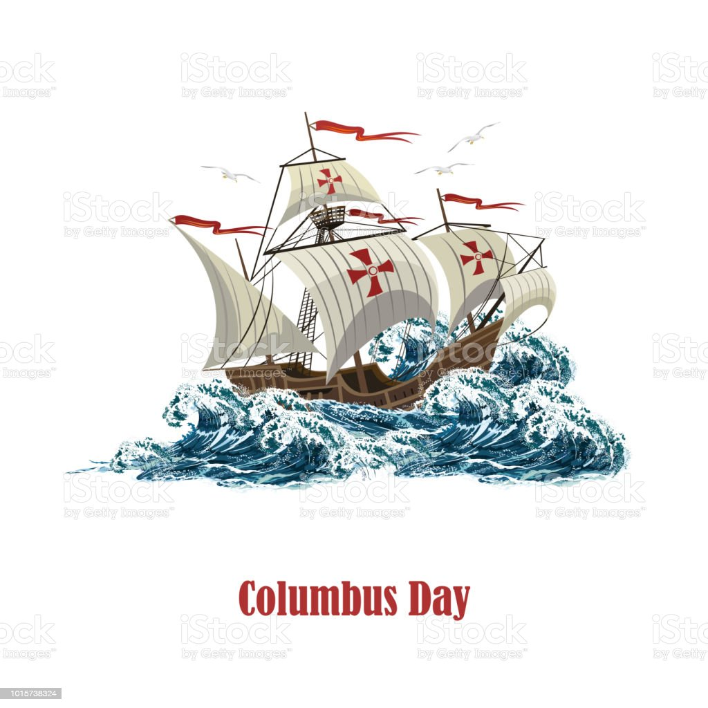 Sailing ship on sea waves, realistic vector illustration for Columbus Day.