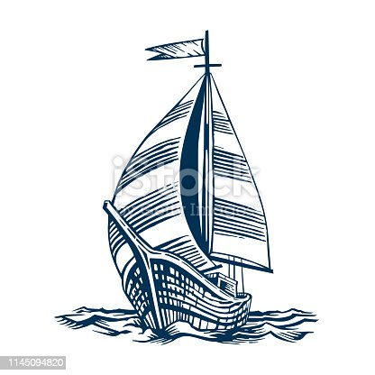 sailboat; vessel; sea; boat; nautical; illustration; travel; water; sail; ship; vintage; engraving; drawing; ocean; wave; marine; transport; navigation; engraved; transportation; white; old; vector; graphic; antique; drawn; ancient; wind; isolated; wooden; adventure; cruise; mast; retro; black; voyage; hand; yacht; historical; history; background; historic; flag; yachting; navy; line; sketch; brig; engrave; schooneron the waves. Hand drawn engraving scratchboard style imitation. Isolated on a white background.