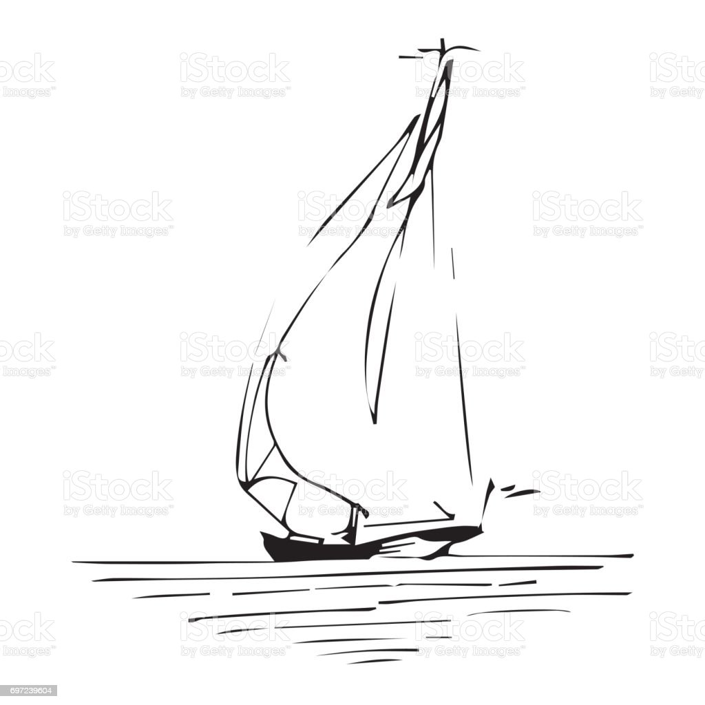 Sailing ship or boat in the ocean in ink line style. Hand sketched yacht. Marine theme design. - illustrazione arte vettoriale
