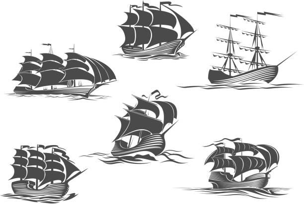 Sailing ship, sailboat, yacht and brigantine icon Sailing ship, sailboat, yacht and brigantine isolated icon set. Old sailing vessel under full sails and flags on masts silhouettes for sailing sport, ocean cruise, marine trip, regatta design pirate ship stock illustrations