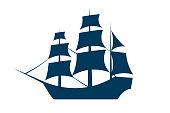 Sailing ship silhouette. Vector EPS10 illustration