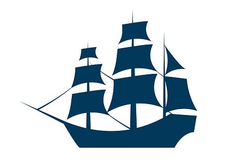 Sailing ship silhouette. Vector EPS10 illustration.