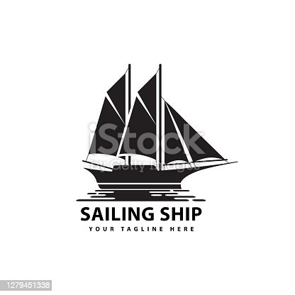 symbol of sailing ship silhouette sea transportation design vector