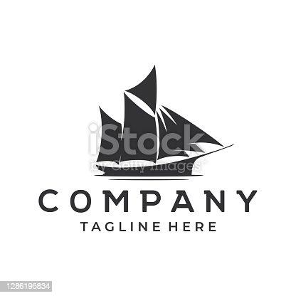 Sailing ship silhouette sea transportation design vector illustration