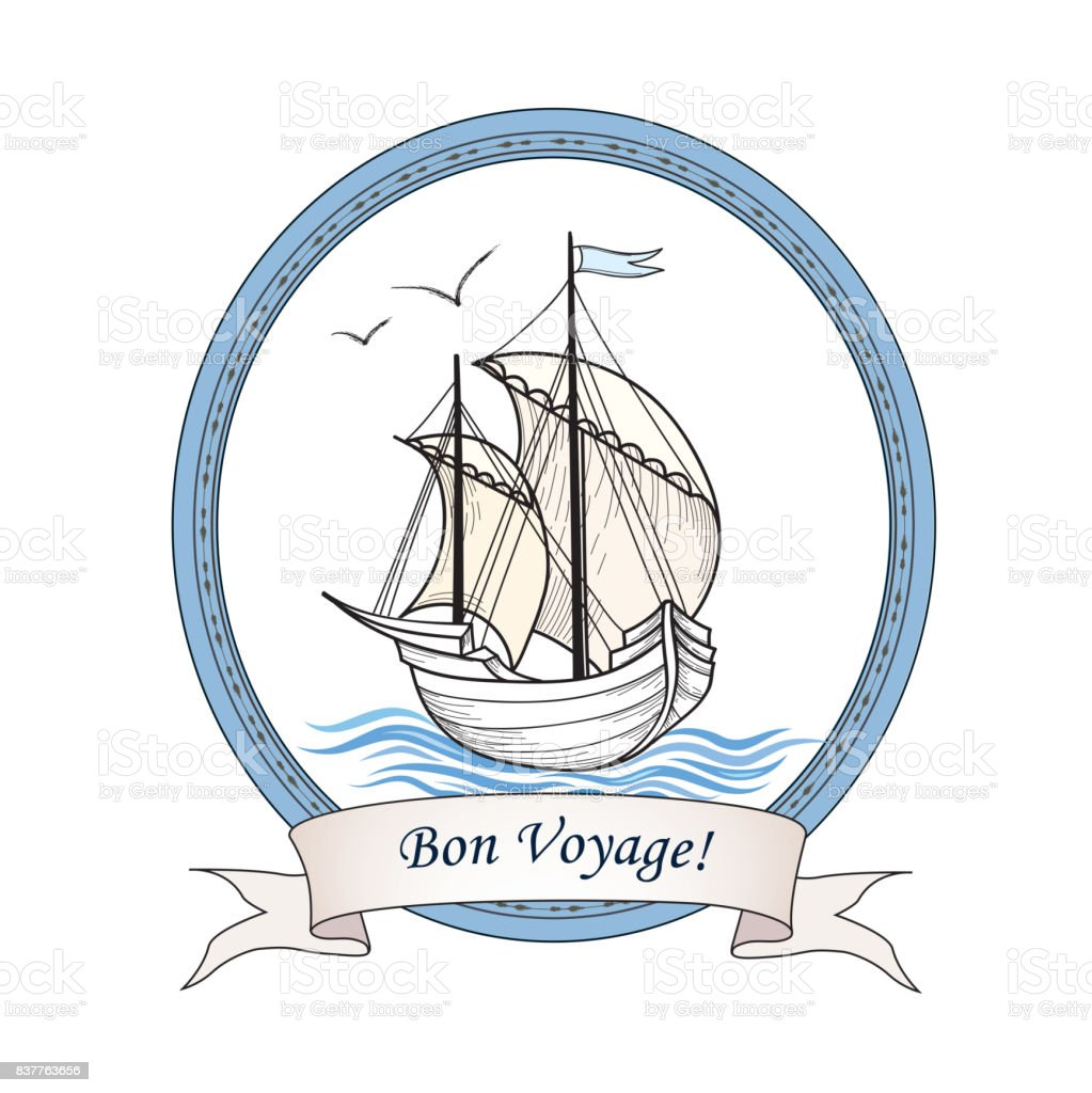 Sailing ship. Summer holiday Bon Voyage card. Sail boat transpor vector art illustration