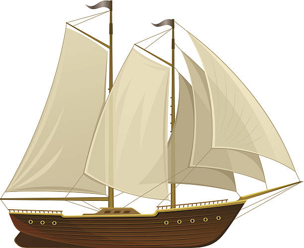 Sailing ship Sailing ship on a white background pirate ship stock illustrations