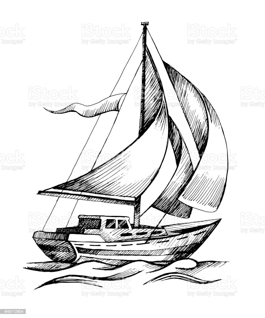 Sailing Ship Vector Sketch Isolated With Waves Stock Vector Art & More Images of Black Color ...