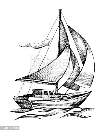 Sailing Ship Vector Sketch Isolated With Waves Stock