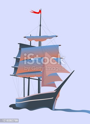 istock Sailing ship with a red flag on the mast 1218382799