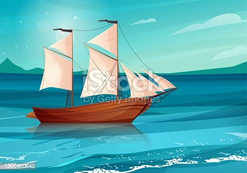 istock Sailing ship with black flags in the sea. Wooden sailboat on water. 1300950640