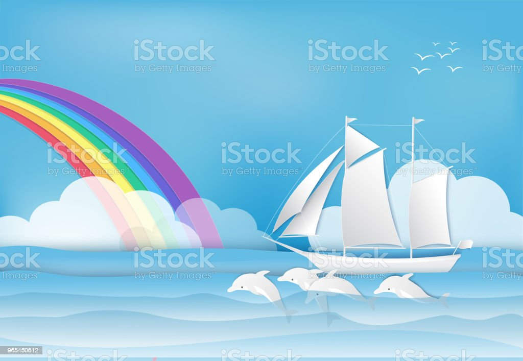 Sailing ship with Dolphin in the sea and rainbow on blue sky background royalty-free sailing ship with dolphin in the sea and rainbow on blue sky background stock vector art & more images of art