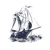 istock sailing ship wood cut 1217865396