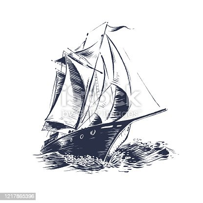 istock sailing ship wood cut 1217865396