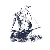 sailing ship, sea, ocean with waves and swell, travel by ship or boat. Engraved, hand drawn, wood cut, vintage, retro design