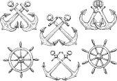 Retro nautical symbols of sketched sailing ships helms and crossed admiralty anchors. Use as marine club badge or navy heraldic design