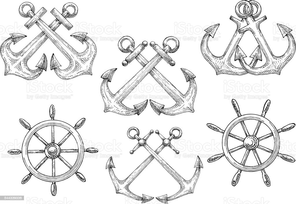 Sailing ships helms and crossed anchors sketches vector art illustration
