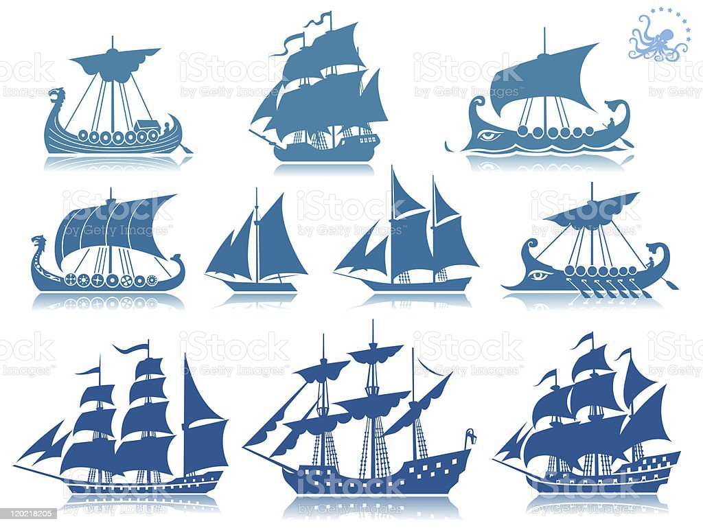 Sailing ships Iconset vector art illustration