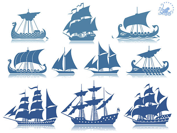 Sailing ships Iconset Ships of the past  iconset. PSD with transparency included. All ships separates by layers. pirate ship stock illustrations