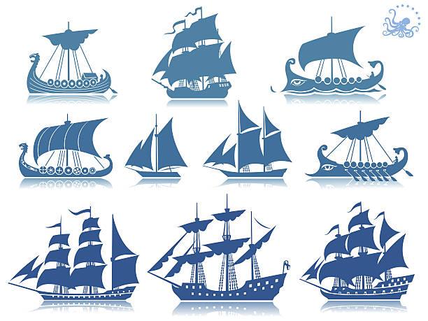 żeglarstwo iconset statków - statek stock illustrations
