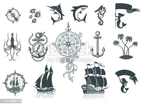 Set of Sailing Ships, Sea Life and Marine Emblems.   AI ver 10 with transparent elements