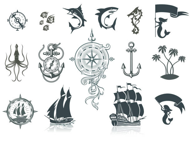 Sailing Ships Silhouettes And Marine Emblems Set of Sailing Ships, Sea Life and Marine Emblems.   AI ver 10 with transparent elements pirate ship stock illustrations