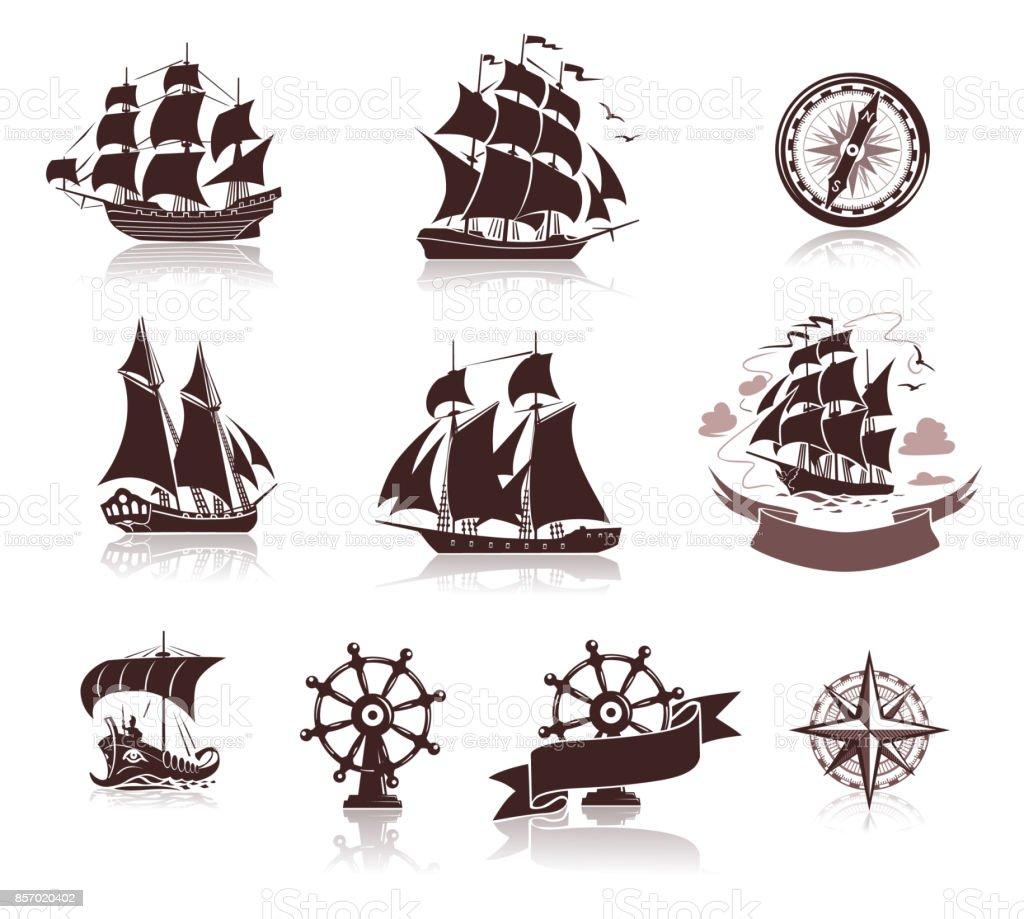 Sailing ships  silhouettes  and marine symbols iconset vector art illustration