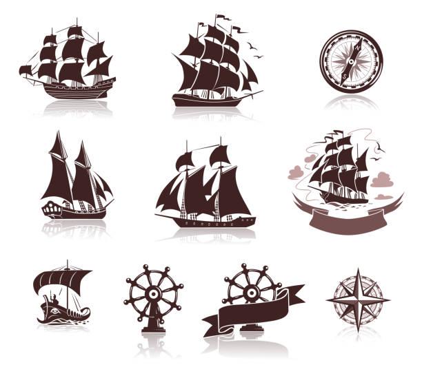 sailing ships  silhouettes  and marine symbols iconset - statek stock illustrations