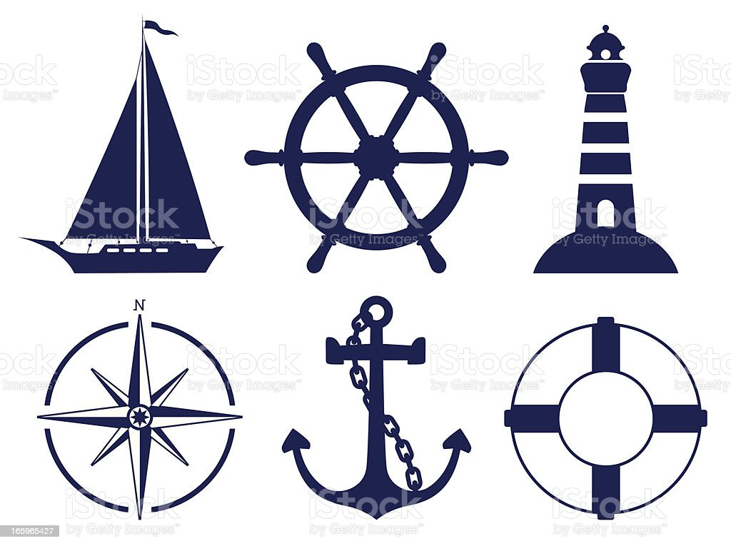 Sailing symbols vector art illustration