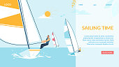 Sailing Time Horizontal Banner, Team Struggle Regatta Ship, Summer Time Water Competition, Sports Activity, Recreation Outdoors Lifestyle, Extreme Sport, Windsurfing Cartoon Flat Vector Illustration
