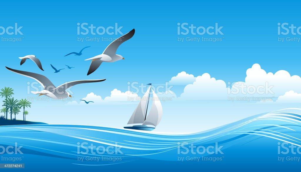 Sailing vector art illustration