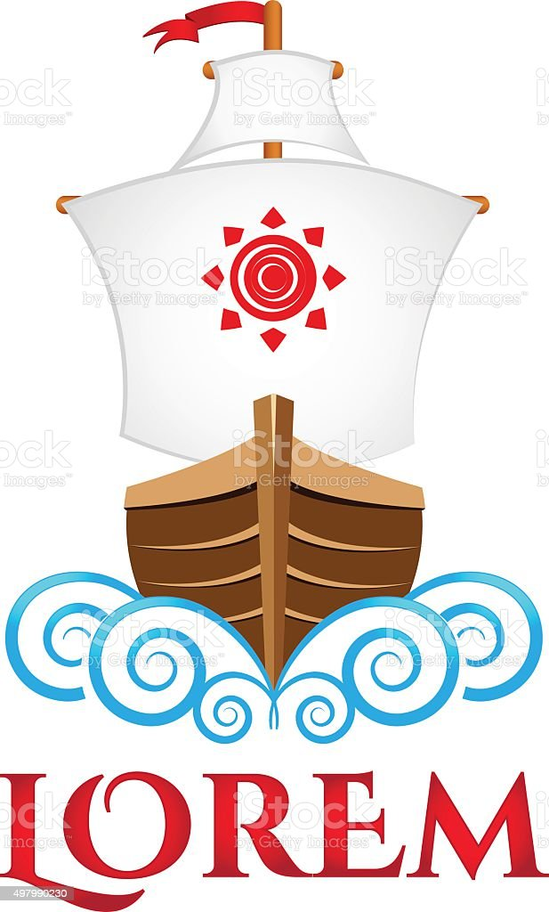 Sailing viking ship, boat, vector logo template