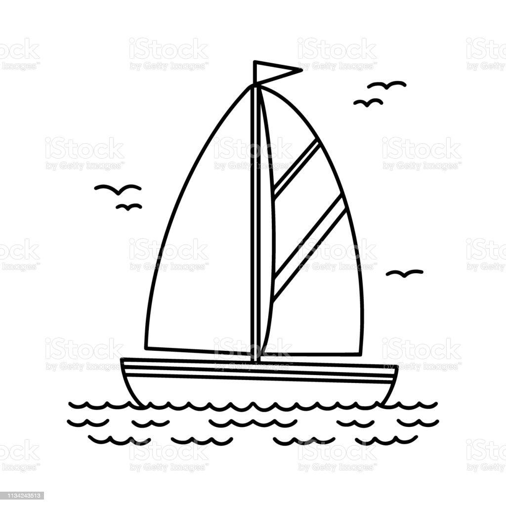Voilier Noir Et Blanc Graphisme Carre De Dessin Anime Dessin Bateau Avec Voile Et Drapeau Naviguant Sur La Mer Modele De Livre De Coloriage Objet De Transport De Leau Vecteurs Libres De