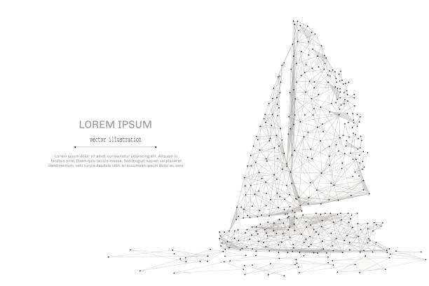 Sailing yacht low poly gray vector art illustration