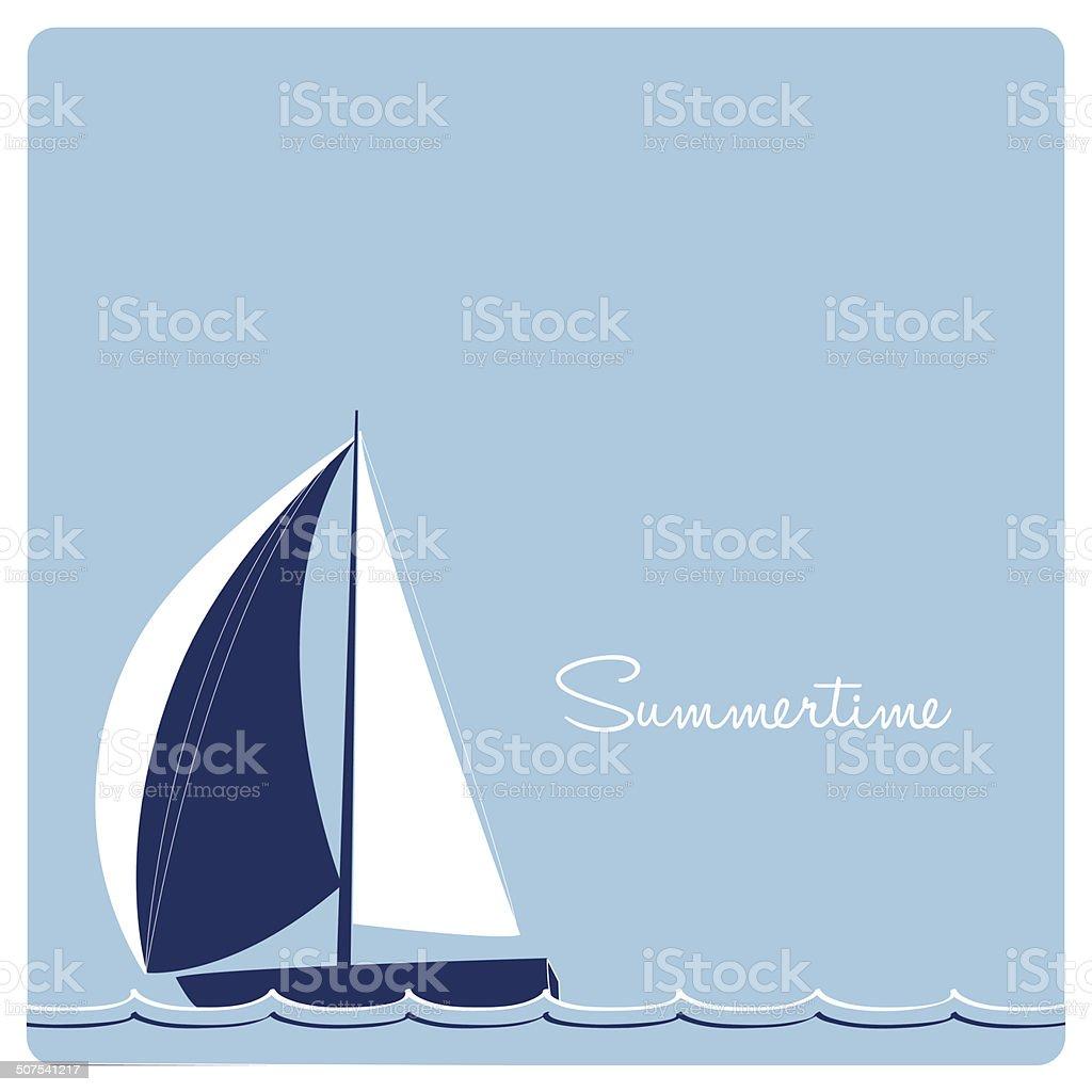 sailing yacht race on blue background vector art illustration