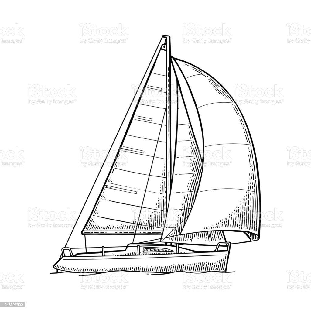Sailing Yacht Sailboat Vector Drawn Flat Illustration For Yacht Club ...