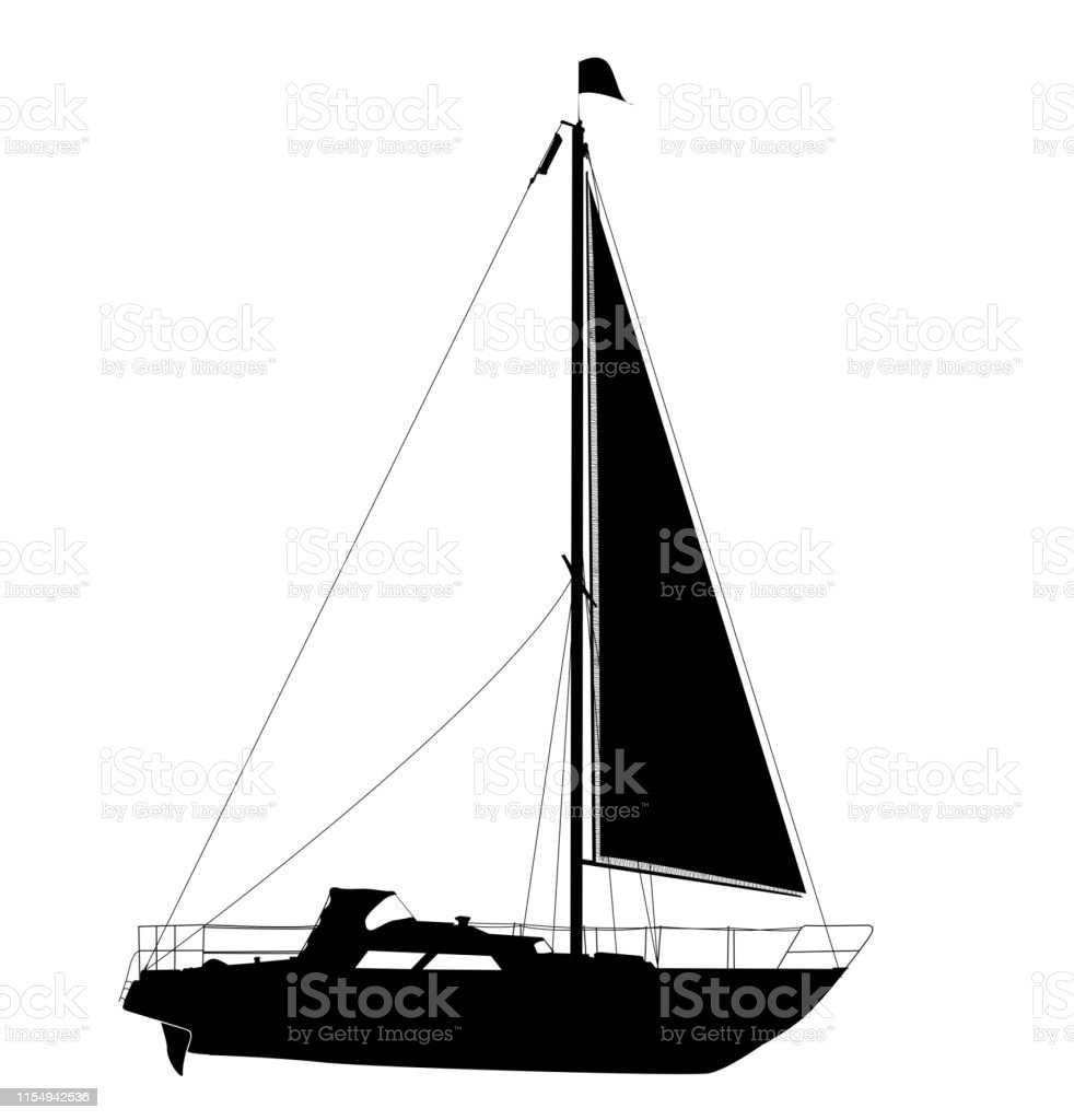 Sailing Yacht Silhouette Stock Illustration - Download Image