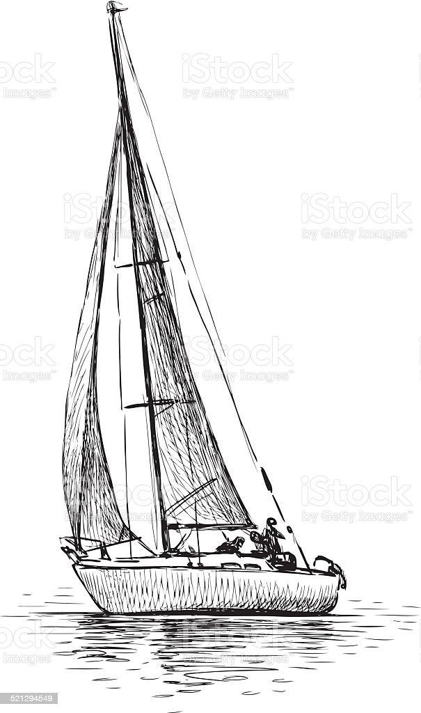 sailing yacht vector art illustration