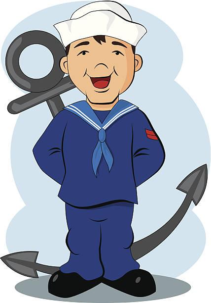 sailor anker comic - matrosenmütze stock-grafiken, -clipart, -cartoons und -symbole