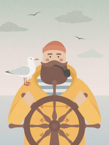 舵取り喫煙管の船員 - 漁師点のイラスト素材/クリップアート素材/マンガ素材/アイコン素材