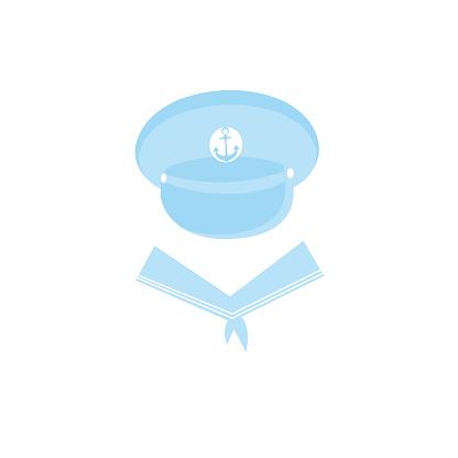Sailor cap with an anchor. Captain Hat. sailor collar