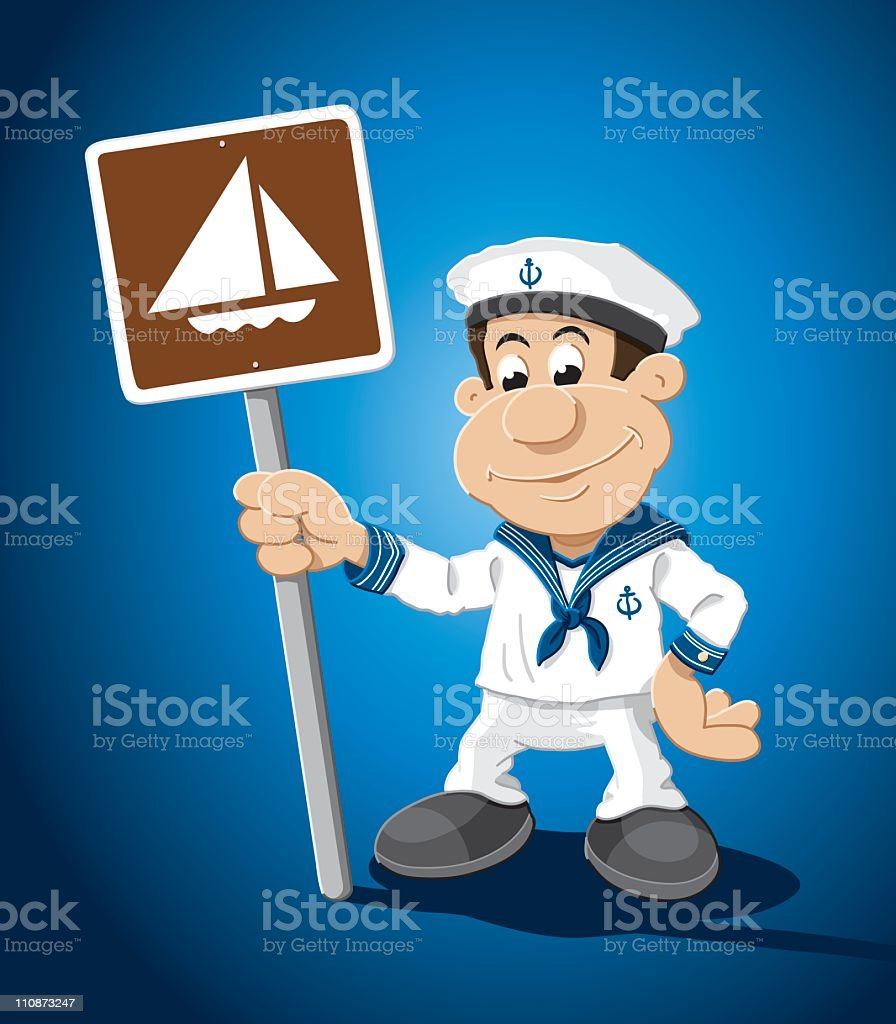 Sailor Cartoon Man Sailboat Sign vector art illustration